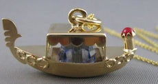 ESTATE ORANG ECORAL BLUE QUARTZ 14K YELLOW GOLD FILIGREE BOAT SHIP PENDANT 20846