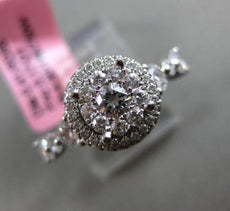 ESTATE .58CT ROUND DIAMOND 18KT WHITE GOLD DOUBLE HALO ENGAGEMENT PROMISE RING