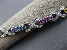ESTATE 4.18CT DIAMOND MULTI COLOR SAPPHIRE 14K WHITE GOLD X LOVE TENNIS BRACELET