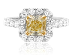 ESTATE 1.82CT WHITE & FANCY YELLOW DIAMOND 18KT 2 TONE GOLD HALO ENGAGEMENT RING