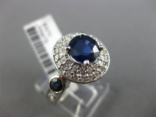 ESTATE WIDE 3.06CT DIAMOND & SAPPHIRE 14K WHITE GOLD DOUBLE HALO ENGAGEMENT RING