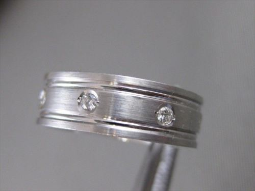 ESTATE DIAMOND 14KT WHITE GOLD MENS WEDDING BAND ETERNITY RING 5MM 11.00 #14336