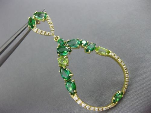 LARGE 8.90CT DIAMOND & AAA TSAVORITE PERIDOT 14K YELLOW GOLD HANGING EARRINGS