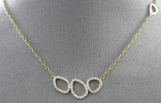ESTATE .42CT DIAMOND 18K YELLOW GOLD PAST PRESENT FUTURE CIRCLE OF LIFE NECKLACE