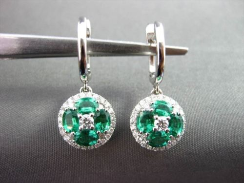 ANTIQUE 1.60CTW AAA EMERALD & DIAMOND 18KT WHITE GOLD HANGING ROUND EARRINGS