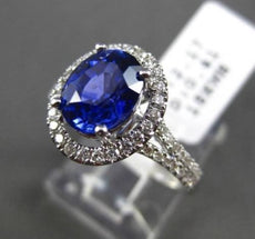 ESTATE 2.58CT DIAMOND & AAA SAPPHIRE 18KT WHITE GOLD OVAL HALO ENGAGEMENT RING
