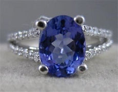 ESTATE 2.09CTW DIAMOND TANZANITE 14K W GOLD PAVE SPLIT BAND COCKTAIL RING #20500