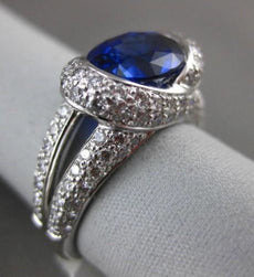 ESTATE LARGE 4.31CT DIAMOND & AAA SAPPHIRE PLATINUM TENSION 3D ENGAGEMENT RING
