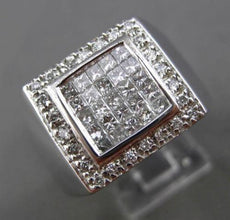 ESTATE EXTRA LARGE 1.75CT PRINCESS CUT DIAMOND 14KT WHITE GOLD SQUARE MENS RING