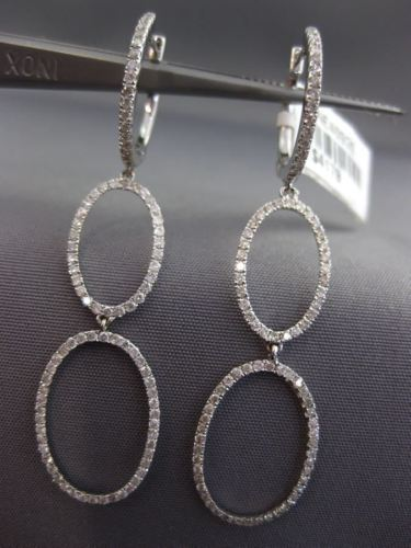 ESTATE .93CT DIAMOND 18KT WHITE GOLD 3D DOUBLE OPEN OVAL HUGGIE HANGING EARRINGS