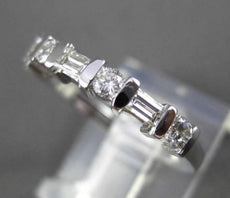 ESTATE .53CT DIAMOND 14KT WHITE GOLD 7 STONE WEDDING ANNIVERSARY RING 3mm #23338