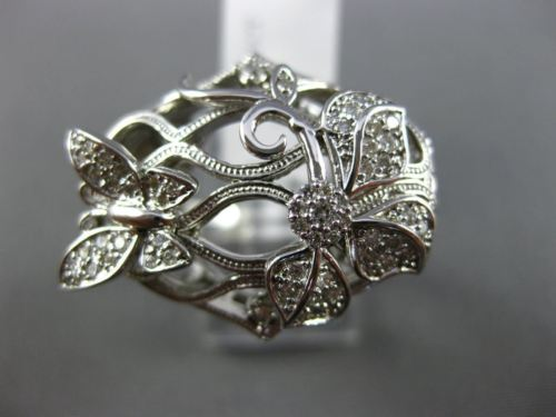ESTATE WIDE .48CT DIAMOND 14KT WHITE GOLD 3D OPEN FILIGREE FLOWER BUTTERFLY RING