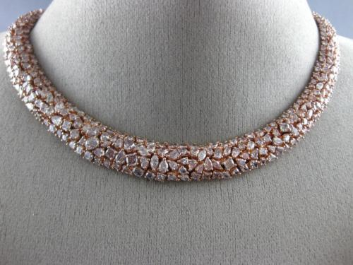 ESTATE LARGE GIA 37.02CT PINK DIAMOND 18K ROSE GOLD MULTI SHAPE CLUSTER NECKLACE