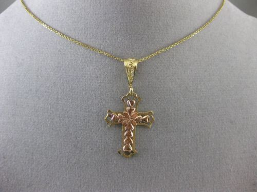 ANTIQUE 14KT YELLOW & ROSE GOLD FILIGREE HANDCRAFTED FLOWER CROSS PENDANT #24777