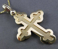 ESTATE 14KT WHITE & YELLOW GOLD 3D TRIPLE MENS CROSS FLOATING PENDANT #24294