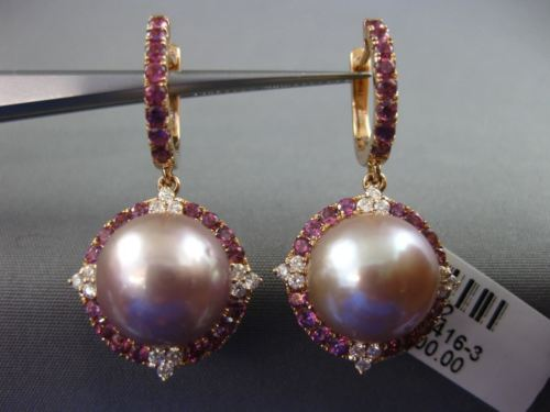 LARGE 1.2CT DIAMOND & AAA AMETHYST TAHITIAN PEARL 18K ROSE GOLD HANGING EARRINGS