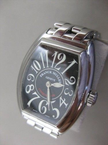 "FRANCK MULLER CONQUISTADOR 8005 BLACK LADIES WATCH SS BOX + PAPERS 6.75"" #2687"