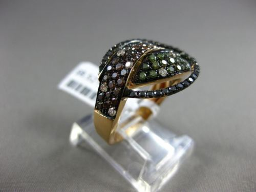ESTATE 1.28CT WHITE & BLACK DIAMOND & AAA MULTI SAPPHIRE 18K GOLD LOVE KNOT RING