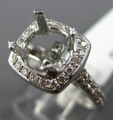 ESTATE WIDE .36CT DIAMOND 14K WHITE GOLD 4 PRONG HALO SEMI MOUNT ENGAGEMENT RING