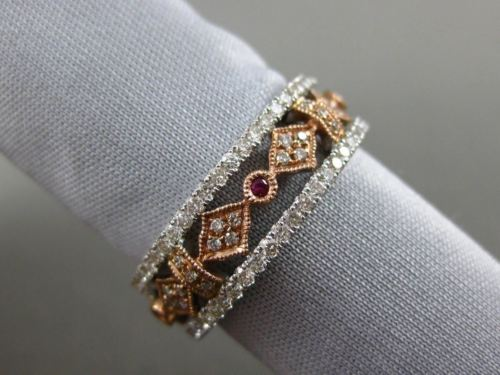 ESTATE 1.11CT DIAMOND & RUBY 14K TWO TONE GOLD 3D ETERNITY FILIGREE WEDDING RING
