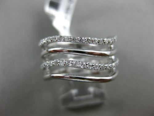 ESTATE WIDE .38CT DIAMOND 14K WHITE GOLD MULTI ROW MULTI WAVE SEMI ETERNITY RING