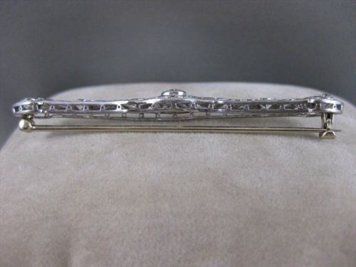 ANTIQUE 1.60CTW OLD MINE CUT DIAMOND PLATINUM OPEN FILIGREE PIN BROOCH F/G #2121