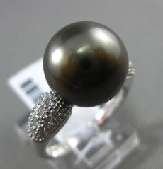 ESTATE LARGE .29CT DIAMOND 18KT WHITE GOLD AAA TAHITIAN PEARL PAVE CLASSIC RING