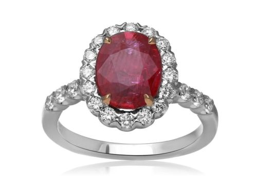 LARGE GIA CERTIFIED 3.12CT DIAMOND & AAA RUBY 18K 2 TONE GOLD 3D ENGAGEMENT RING