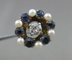 ANTIQUE OLD MINE DIAMOND SAPPHIRE & AAA PEARL 14K YELLOW GOLD PROMISE RING 21998