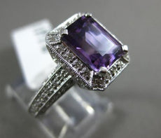 ESTATE 2.9CT DIAMOND & AAA AMETHYST 14K WHITE GOLD FILIGREE HALO ENGAGEMENT RING