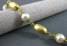 ANTIQUE 14KT YELLOW GOLD FLORAL AAA PEARL BY THE YARD FILIGREE BRACELET #19633