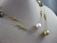 ESTATE LARGE & LONG MULTI COLOR PEARLS 14K YELLOW GOLD 3D OPEN FILIGREE NECKLACE