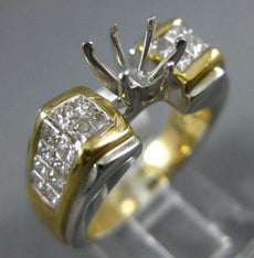 ESTATE WIDE 1.41CT DIAMOND 14KT 2 TONE GOLD 6 PRONG SEMI MOUNT ENGAGEMENT RING