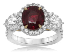 GIA 4.27CT DIAMOND & AAA RUBY 18K 2 TONE GOLD & PLATINUM 3 STONE PEAR SHAPE RING