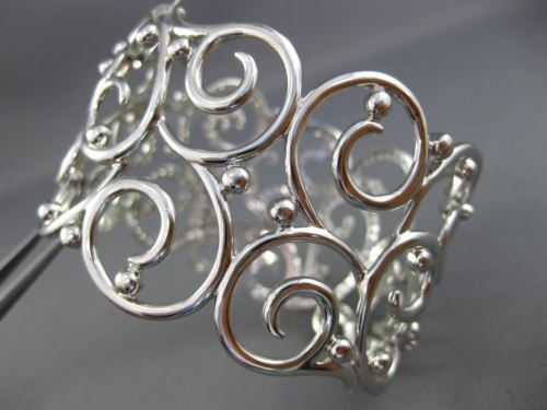 EXTRA LARGE 6.43CT DIAMOND 18KT WHITE GOLD 3D OPEN FILIGREE SEMI ETERNITY BANGLE