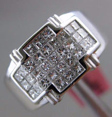 ESTATE WIDE .80CT PRINCESS CUT DIAMOND 18K WHITE GOLD INVISIBLE SQUARE MENS RING