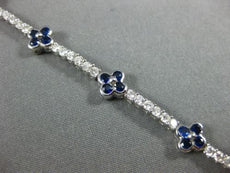 ESTATE 4.17CT DIAMOND & AAA SAPPHIRE 18KT WHITE GOLD 3D FLOWER TENNIS BRACELET