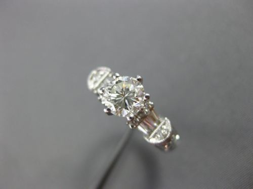 ANTIQUE .95CT ROUND & BAGUETTE DIAMOND 18KT GOLD FILIGREE ENGAGEMENT RING #14889