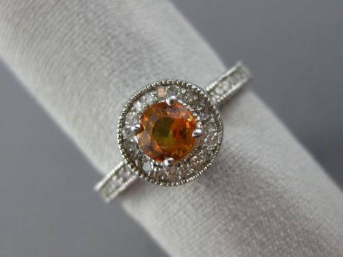 LARGE 1.40CT DIAMOND & YELLOW SAPPHIRE 14KT WHITE GOLD FILIGREE ENGAGEMENT RING