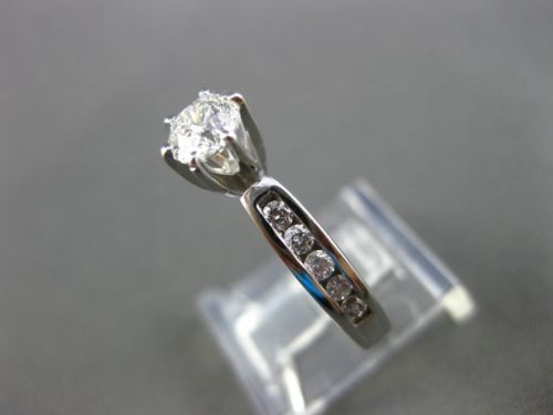 ESTATE WIDE .91CT ROUND DIAMOND 14KT WHITE GOLD SOLITAIRE ENGAGEMENT RING #21702