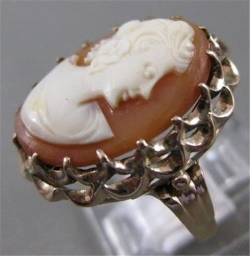 ANTIQUE 14K YELLOW GOLD CARVED FILIGREE LADY FLOWER CAMEO COCKTAIL RING #20421