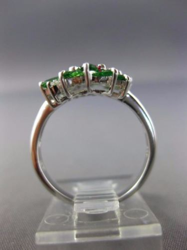 LARGE 2.0CT DIAMOND & AAA TSAVORITE & RUBY 14KT WHITE GOLD OVAL FLOWER FUN RING