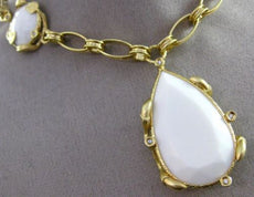 ESTATE LARGE .15CT DIAMOND WHITE & AGATE 14KT YELLOW GOLD ETOILE LARIAT NECKLACE