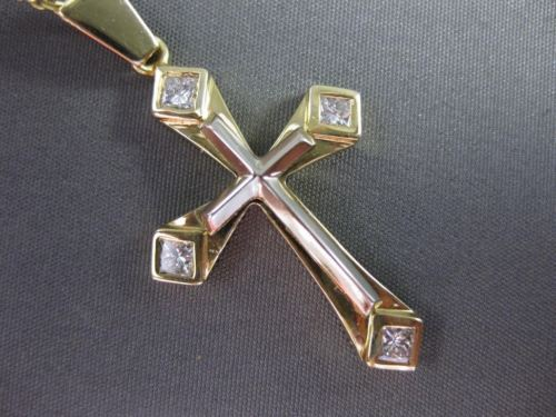 ESTATE .40CT DIAMOND 14K WHITE & YELLOW GOLD 3D PRINCESS CUT CROSS PENDANT 21597