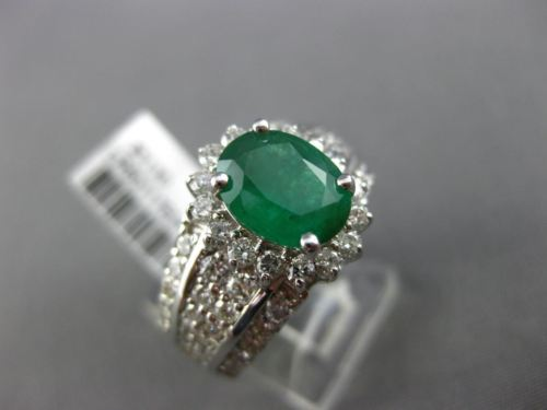 LARGE 3.30CT DIAMOND & AAA EMERALD 14K WHITE GOLD OVAL MULTI ROW ENGAGEMENT RING