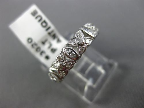 ANTIQUE .80CT DIAMOND PLATINUM 3D FILIGREE FLOWER ANNIVERSARY ETERNITY RING 3020