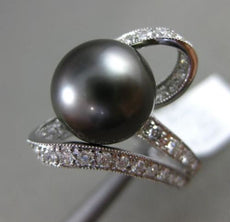 ESTATE LARGE .63CT DIAMOND 18KT WHITE GOLD 3D AAA TAHITIAN PEARL SOLITARE RING