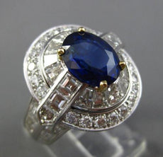 LARGE CERTIFIED 7.28CT DIAMOND & SAPPHIRE NON HEATED PLATINUM OVAL COCKTAIL RING