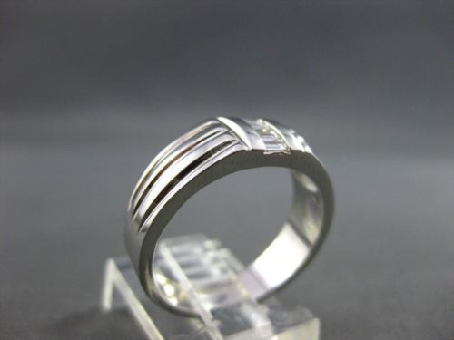 ESTATE WIDE .30CT DIAMOND 4 STONE BAGUETTE 14KT WHITE GOLD MENS RING SHARP #4079