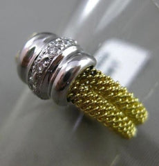 ESTATE WIDE .12CT DIAMOND 18KT WHITE & YELLOW GOLD 3D MESH COCKTAIL RING #7856